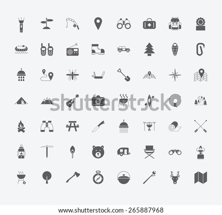 Set of Camping icons on white background. Vector illustration - stock vector