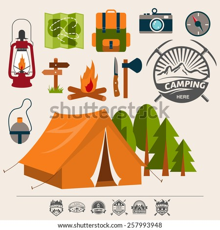 Set of camping of adventure. Equipment icon set in vector. - stock vector