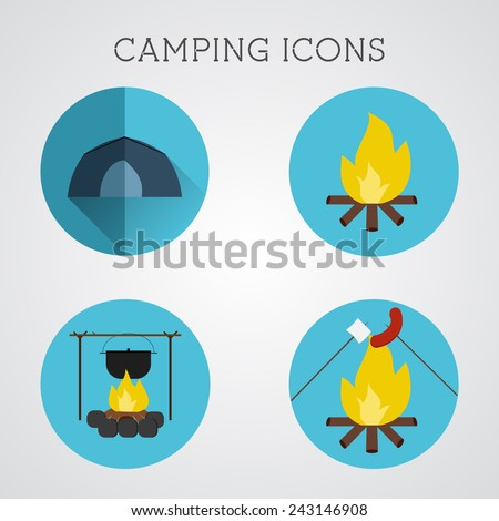 Set of camping symbols and icons. Flat design on blue buttons background. Summer vacation 2015 logo. Vector - stock vector