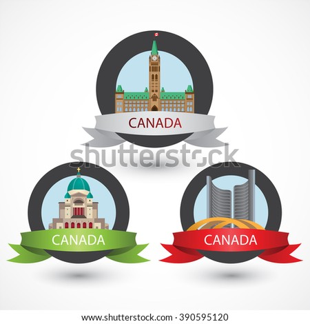 Set of Canada famous monuments. City Hall, Toronto, Saint Joseph's Oratory of Mount Royal and Peace Tower in Ottawa . Flat Vector illustration can be used in web design and travel concepts. Volume 1.  - stock vector