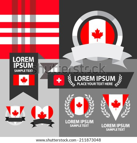 Set of Canada flag, emblem and pattern background.  - stock vector