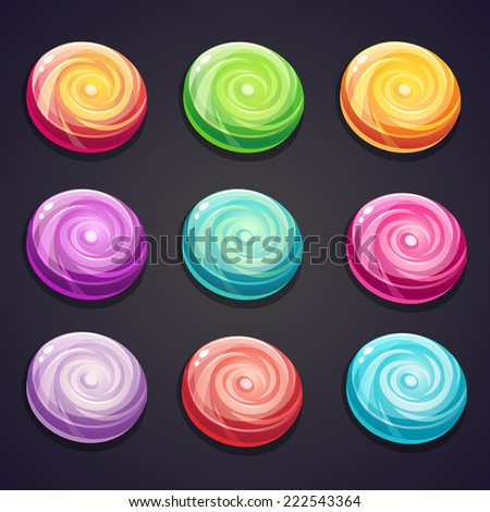 Set of candies of different colors for computer games - stock vector
