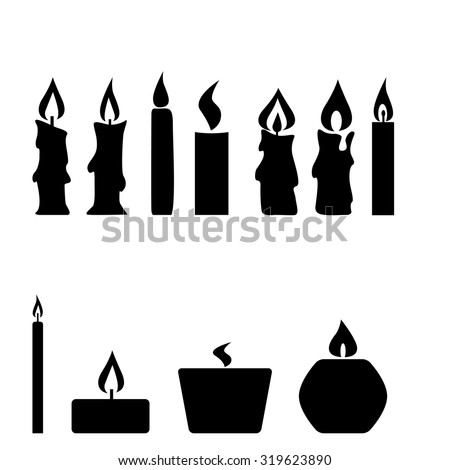 Set of candles isolated on white background, vector illustration - stock vector