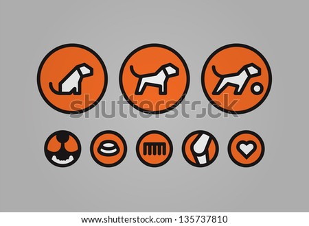 Set of canine related icons. Easy to recolor and separate. Dog: passive, active, playful Teeth, food/digestion, comb, joints/bones, heart. - stock vector