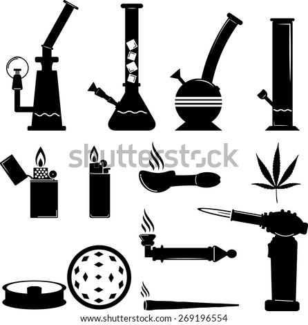 set of cannabis equipment icon - stock vector