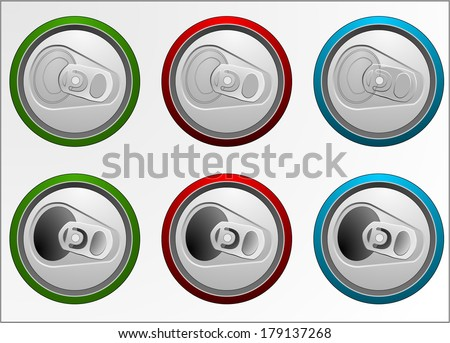 Set of cans of various colors. Top view, open and closed. View from above, bird's eye view. Overhead view. Vector art image, isolated on white background - stock vector