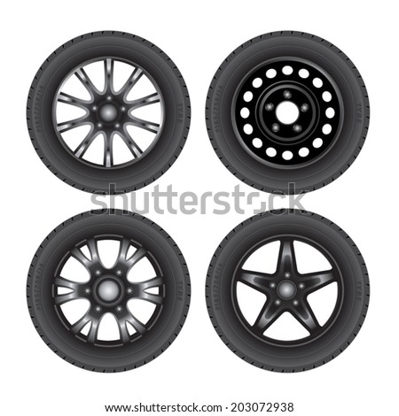 Set of car discs with tires. Vector illustration - stock vector