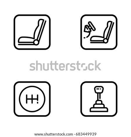 set car interior details outline vector stock vector 683449939 shutterstock. Black Bedroom Furniture Sets. Home Design Ideas