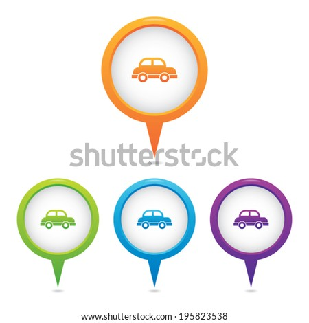Set of Car Marker Icons - stock vector