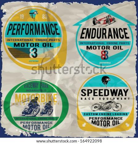 Set of car racing emblems and vector badges - stock vector