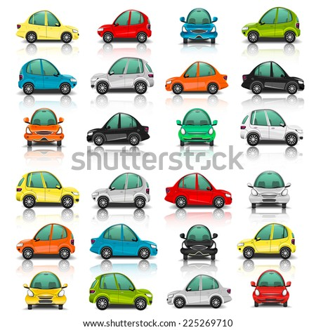 Set of car side and front view vector - stock vector