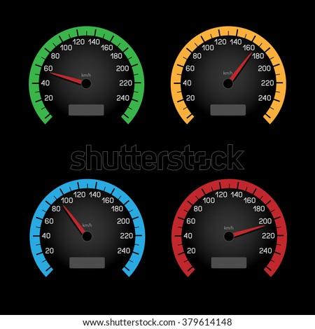 Set of car speeding limit panels isolated on black background. Speedometer shows the speed limit - stock vector