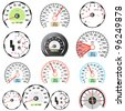 Set of car speedometers for racing design. - stock vector