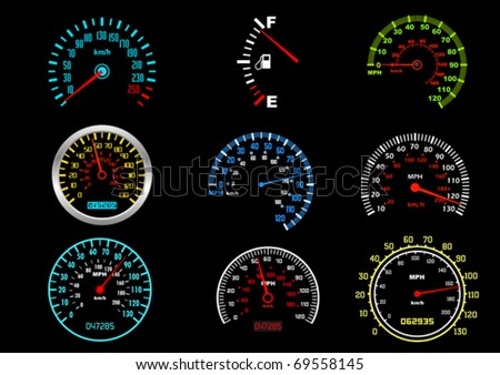 Set of car speedometers for racing design. Jpeg version also available in gallery - stock vector