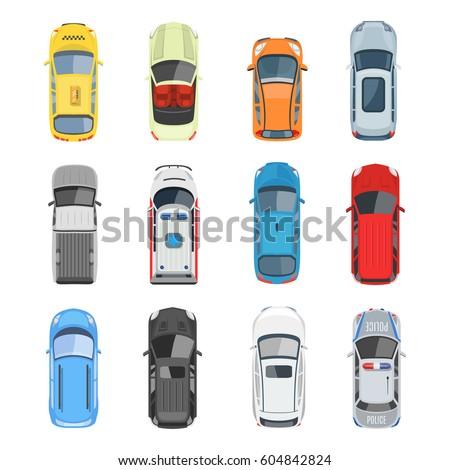 Vector Illustration In Rank M Rank Set Of Car Top View Vector Set