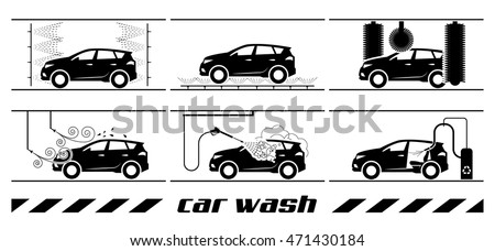Set of car washing icons. Collection of very useful icons for car wash. Whole process of car wash presented through pictograms