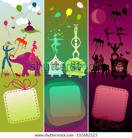 set of 3 card showing colorful circus caravan with magician, elephant, dancer, acrobat, mermaid and other fun characters