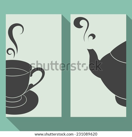 Set of card with silhouettes teapot and cup. Flat design. A teapot and a cup saved in symbols - stock vector