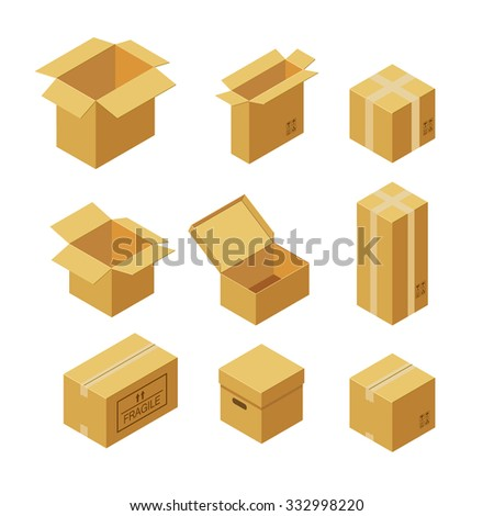 Set of cardboard boxes. Flat style vector illustration isolated on white background. - stock vector