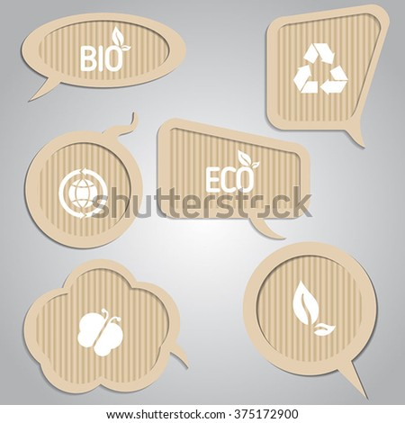 Set of cardboard speech bubbles with eco elements. Eco theme. - stock vector