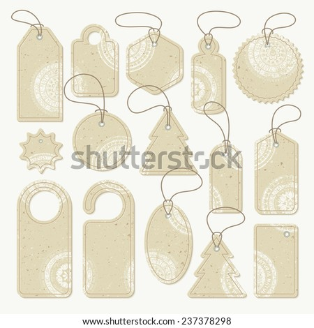 Set of cardboard tags with white stamps, vector. Each object can be used separately - stock vector