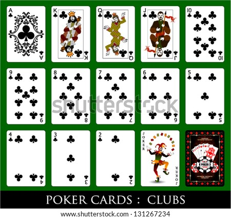 Set of Cards.All the Clubs. - stock vector