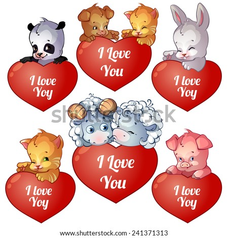 set of cards for valentines day with cute cartoon animals panda bunny puppy - Cartoon Valentine Pictures
