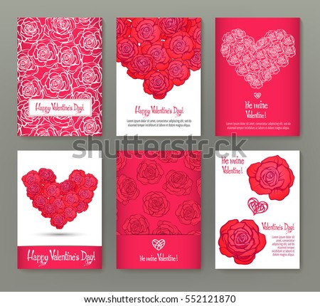 Set of 6 cards or banners for Valentine's Day with ornate red love hearts, red roses and beautiful design elements and inscriptions. Stock vector.