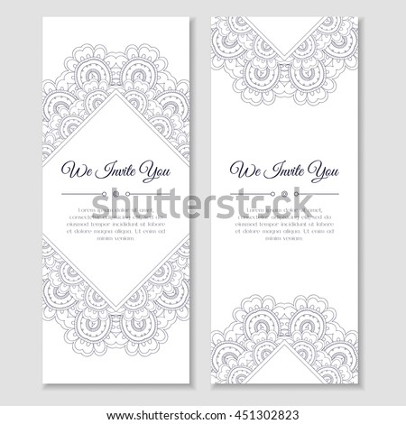 Set cards banners mandala zentangle ornamental stock photo photo set of cards or banners with mandala zentangle ornamental frame indian mehndi east style stopboris Images