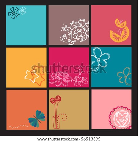 Set of 9 cards/templates/backgrounds - stock vector