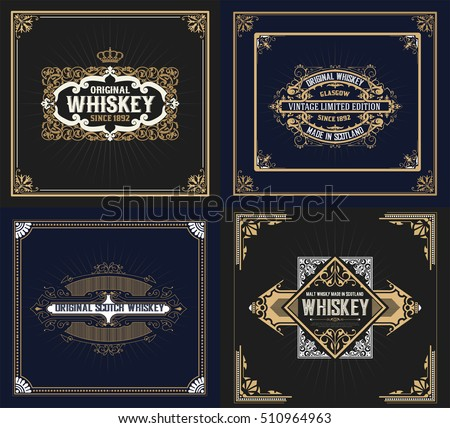 Set of 4 Cards. Western style