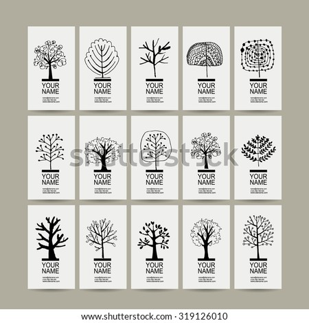 Set of cards with art trees for your design. Vector illustration