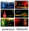 Set of cards with Christmas tree, balls, stars and snowflakes, illustration - stock vector