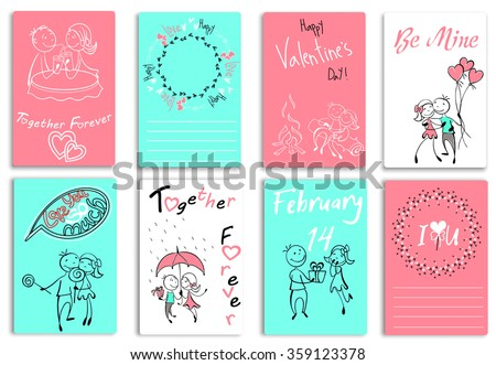 Set of cards with couples in the sketch style. Characters in different situations, on Valentine day. Couple in love, boyfriend,girlfriend, quotes, presents heart for your design. Vector illustration - stock vector