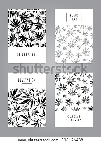 Cool set of cards with pattern of marijuana leaves for for Placard interieur cannabis