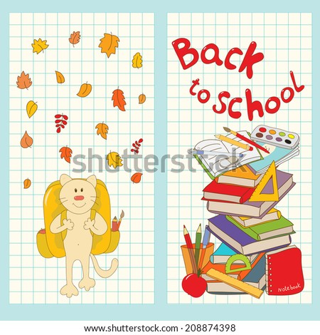 Set of 2 cards with school elements. Funny cat go to school. School tools vector card.