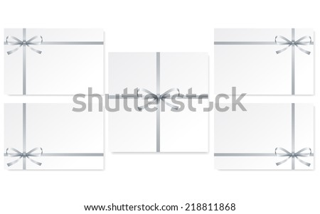 set of cards with single gift bow of silver color, cross ribbon on white, vector - stock vector