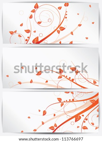 Set of cards with vector autumn spring background and floral elements