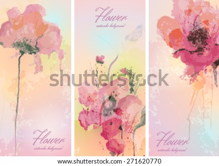 Set of cards with watercolor flowers . Vector design  - stock vector