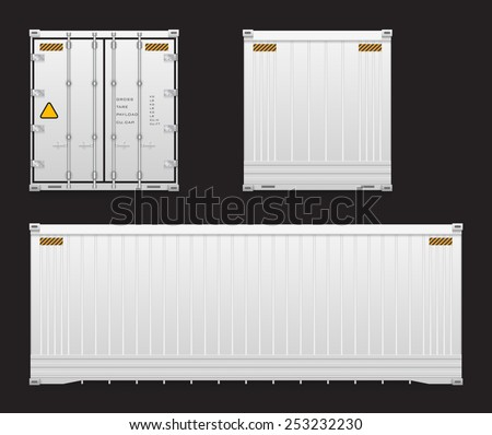Set of cargo container isolated on black background. - stock vector