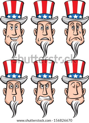 Set of 6 caricature Uncle Sam caricature faces: various facial expressions. Easy-edit layered vector EPS10 file scalable to any size without quality loss. High resolution raster JPG file is included.  - stock vector