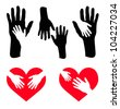 Set of caring hand and hand on red heart - Vector - stock photo