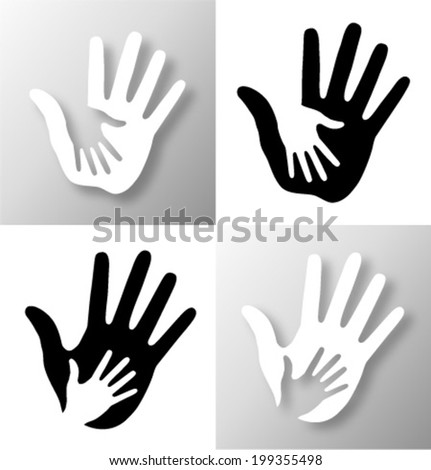 Set of Caring hands, vector illustration  - stock vector