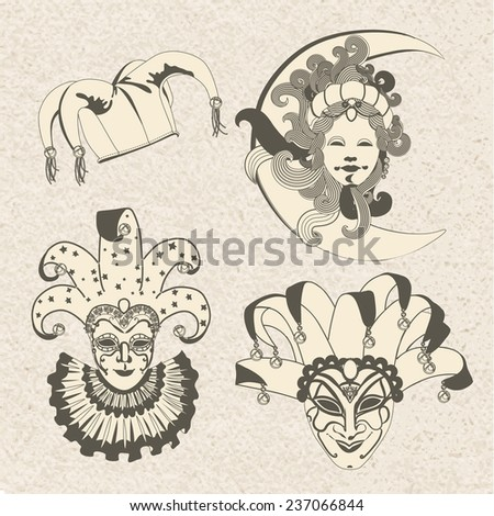 Set of carnival masks. Mardi Gras. Venice holiday. Vintage style - stock vector