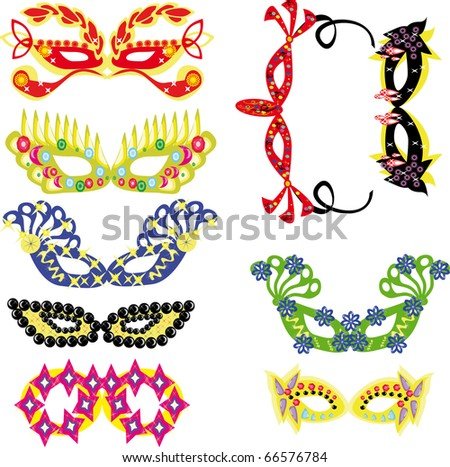 Set of carnival masks on the isolated background