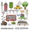 set of cars and road symbols - stock vector