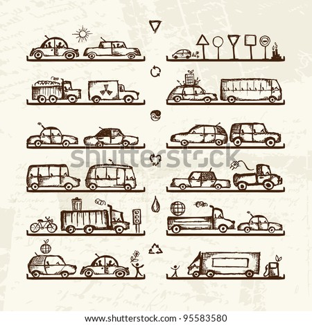 Set of cars and traffic signs on shop shelves, sketch for your design - stock vector