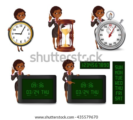 Set of cartoon African American business woman points to the deadline. Girl in suit with clock, hourglass, stopwatch, digital clock and calendar. Vector illustration isolated on white background. - stock vector