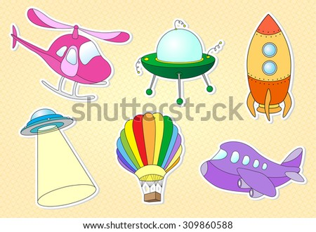 Set of cartoon air transport: balloon, aircraft, helicopter, rocket, flying saucer and ufo. Vector illustration - stock vector
