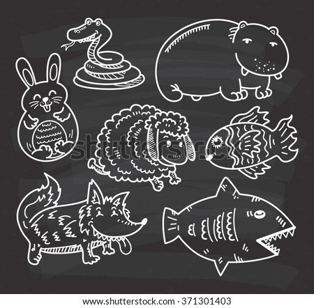 set of cartoon animal on chalkboard background